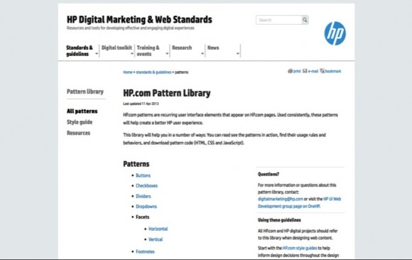 HP.com UI Pattern Library
